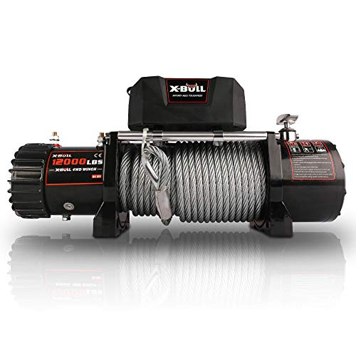 X-BULL 12V Steel Cable Electric Winch 12000...
