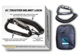Motorcycle Helmet Lock & Cable. Sleek Black...