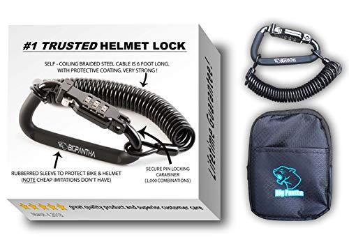 Motorcycle Helmet Lock & Cable. Sleek Black...