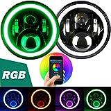 Aukmak 7 inch LED Headlights RGB Halo Ring...