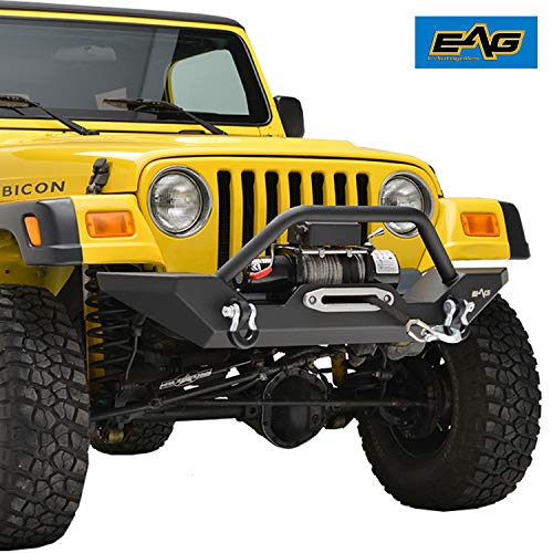EAG Steel Front Bumper with Winch Plate Black...