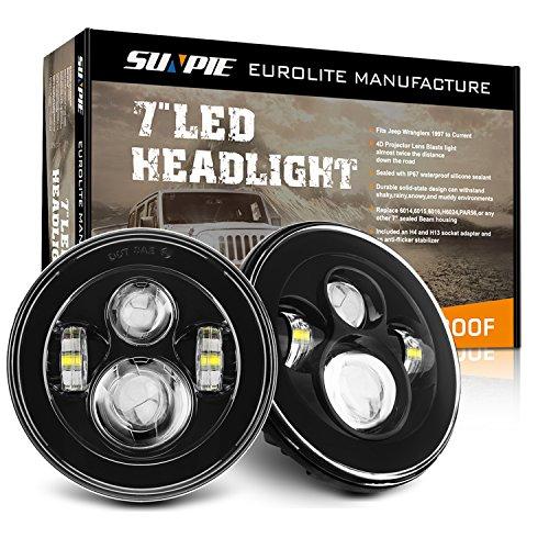 SUNPIE 7 inch Black LED Headlights Bulb for J...