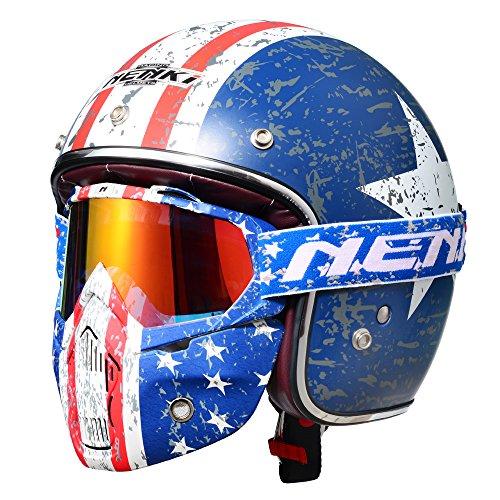 NENKI 3/4 Vintage Retro Motorcycle Helmet...