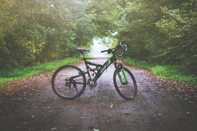 green and black mountain bike