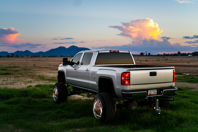 silver lifted truck